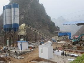 湖北宜昌HZS60混凝土搅拌站工地现场
